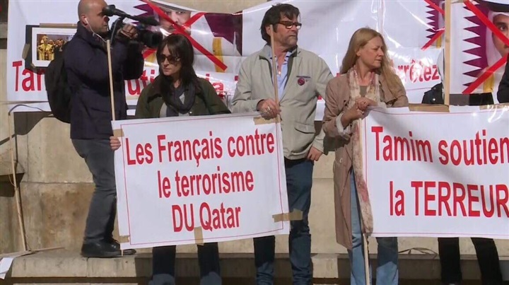 Mass demonstration against Qatar and its Emir in Paris